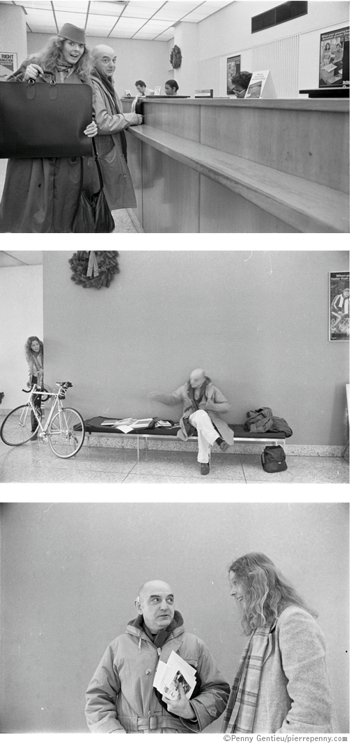 Duane Michals looking at Penny Gentieu's portfolio