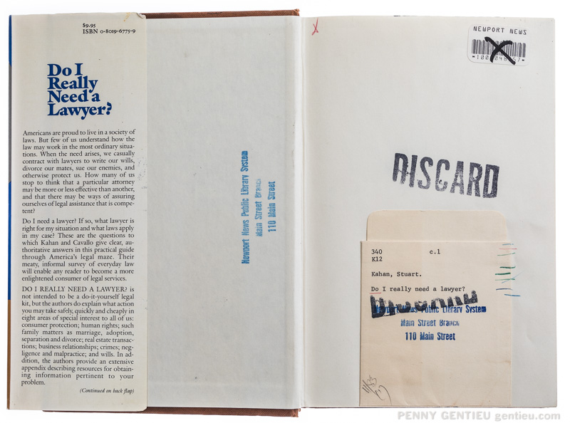 """inside cover of book, Do I Really Need a Lawyer? stamped with """"discard"""""""